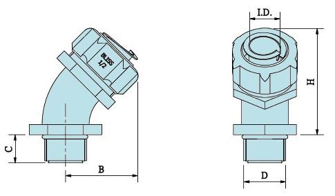 5 degree PG Thread Flexible Conduit Fitting